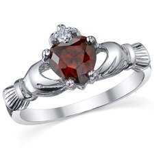 Sterling Silver Irish Claddagh Friendship and Love Garnet/Cubic Zirconia Ring