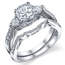 Sterling Silver Round Cubic Zirconia Wedding Engagement Ring Set
