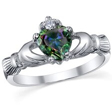 Sterling Silver Irish Claddagh Friendship and Love Topaz/Cubic Zirconia Ring