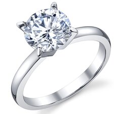 Sterling Silver Round Cubic Zirconia 925 Wedding Engagement Ring