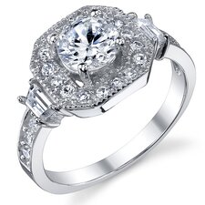 Sterling Silver Round Cubic Zirconia 925 Engagement Ring