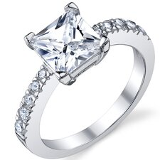 <strong>Bonndorf Laboratories</strong> Sterling Silver Princess Cubic Zirconia 925 Wedding Engagement Ring