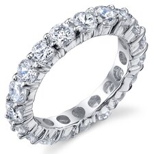Sterling Silver Round Cubic Zirconia 925 Eternity Wedding Band Engagement Ring