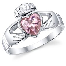 Sterling Silver Irish Claddagh Friendship and Love Cubic Zirconia Ring