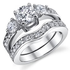 Sterling Silver Round Cubic Zirconia 925 Wedding Band Engagement Ring Set