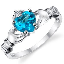 Stelring Silver Irish Claddagh Friendship and Love Aquamarine/Cubic Zirconia Ring