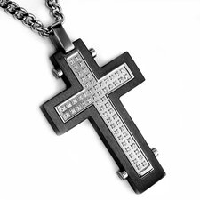 Stainless Steel Cross Cubic Zirconia Necklace