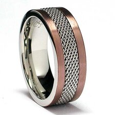 Stainless Steel Mesh Inlay Comfort Fit Ring