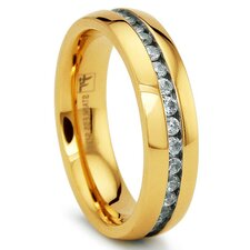 Stainless Steel Cubic Zirconia Comfort Fit Eternity Wedding Band