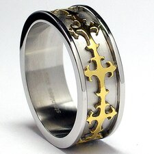 Men's Stainless Steel Eternity Cross Comfort Fit  Ring