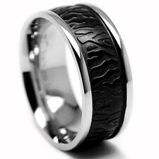 Stainless Steel Lava Textured Comfort Fit Ring
