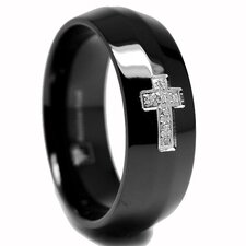 Stainless Steel Cubic Zirconia Cross Comfort Fit Wedding Band