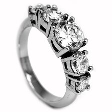 Stainless Steel 2.75 Carat TCW Cubic Zirconia Engagement Ring
