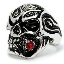 Men's Stainless Steel Casted Skull Red Cubic Zirconia Ring