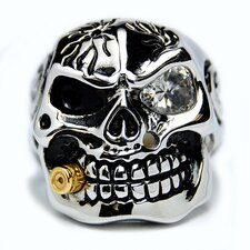 Men's Stainless Steel Casted Skull Cubic Zirconia Ring