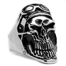 Stainless Steel Men's Casted Smiling Biker Skull Ring