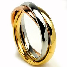 <strong>Bonndorf Laboratories</strong> Stainless Steel Tri-Color Love Not Trinity Ring