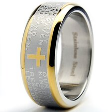 Stainless Steel Lord's Prayer Comfort Fit Ring