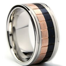 Men's Tri-Color Stainless Steel Brick Comfort Fit Spinner Ring