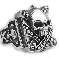 Men's Stainless Steel Casted Skull Crossbones Biker Ring