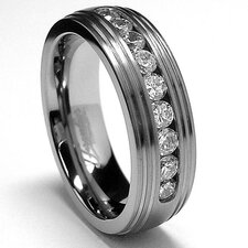 Men's Titanium Cubic Zirconia Grooved Comfort Fit Wedding Band