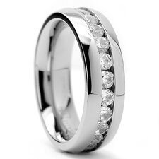 Women's Titanium Cubic Zirconia Wedding Band