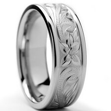 Titanium Floral Engraved Comfort Fit Wedding Band