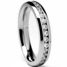Women's Titanium Cubic Zirconia Eternity Wedding Band