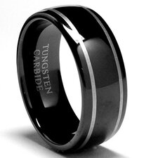 Tungsten Dome Laser Etched Comfort Fit Wedding Band