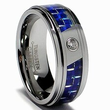 Men's Tungsten Carbide Cubic Zirconia Comfort Fit Ring