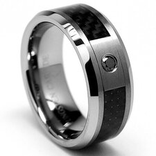 Tungsten Carbide Diamond Comfort Fit Wedding Band