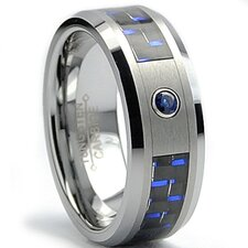 Tungsten Carbide Sapphire Comfort Fit Wedding Band