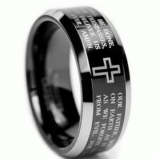 Lord's Prayer Tungsten Comfort Fit Wedding Band