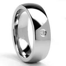 Men's Tungsten Carbide Comfort Fit Diamond Dome High Polish Comfort Fit Ring