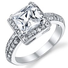Solid Sterling Silver 925 Princess Cut Cubic Zirconia Wedding and Engagement Ring