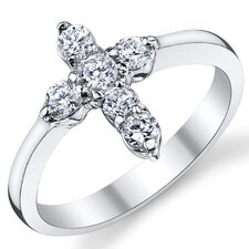 Solid Sterling Silver 925 Cross Cubic Zirconia Ring