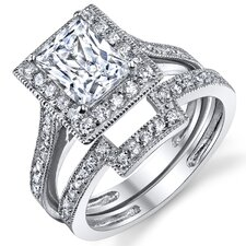 <strong>Bonndorf Laboratories</strong> Solid Sterling Silver 925 Cubic Zirconia Wedding and Engagement Ring