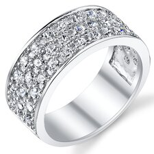 Solid Sterling Silver 925 Cubic Zirconia Men's Wedding Band