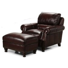 Prescott Leather Armchair and Ottoman