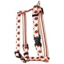 Pink/Brown Stripes with Pink and Brown Argyle Roman Harness
