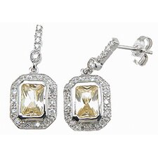 Emerald Cut Citrine Drop Earrings
