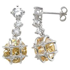 Brilliant Cut Citrine Fashion Drop Earrings