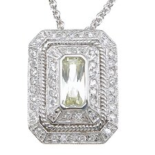 .925 Sterling Silver Emerald Cut Quartz Pendant