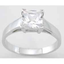<strong>Plutus Partners</strong> .925 Sterling Silver Princess Cut Cubic Zirconium Solitaire Engagement Ring