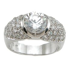 <strong>Plutus Partners</strong> .925 Sterling Silver Brilliant Cut Cubic Zirconia Fashion Anniversary Ring
