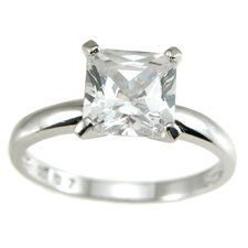 <strong>Plutus Partners</strong> .925 Sterling Silver Princess Cut Cubic Zirconia Solitaire Wedding Ring