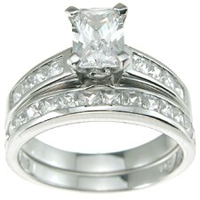 .925 Sterling Silver Emerald Cut Cubic Zirconia Solitaire Engagement Ring Set