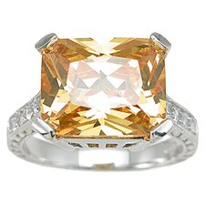 .925 Sterling Silver Emerald Cut Citrine Fashion Anniversary Ring
