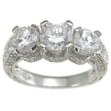 <strong>Plutus Partners</strong> .925 Sterling Silver Brilliant Cut Cubic Zirconia Wedding Ring