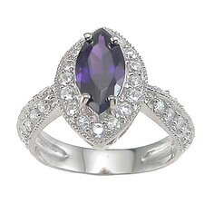.925 Sterling Silver Marquise Cut Amethyst Anniversary Ring
